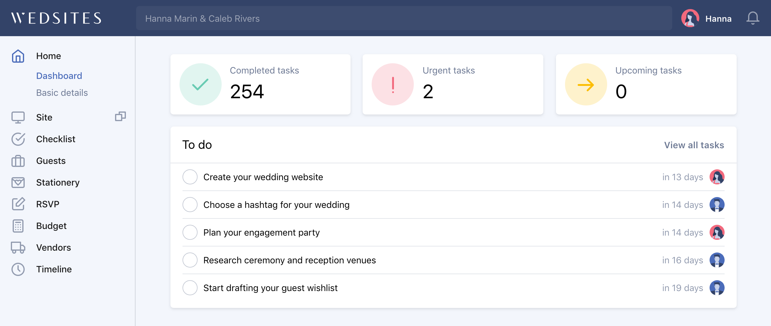 Your wedding planning dashboard
