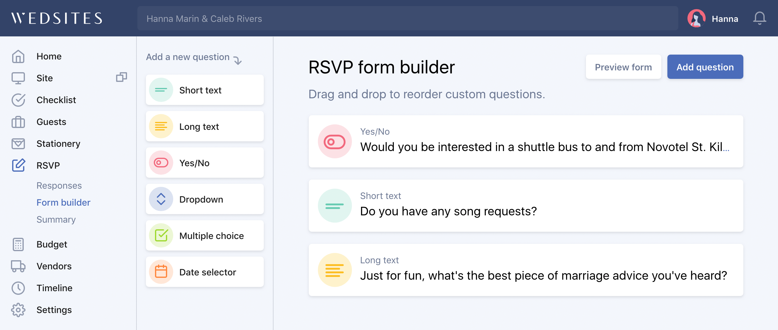RSVP form builder with custom questions