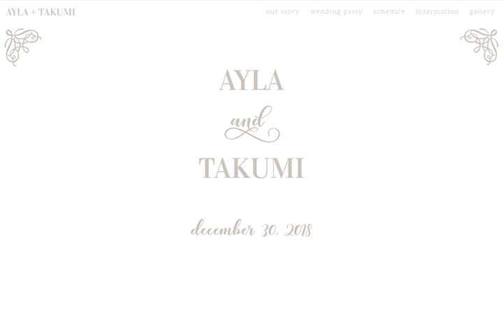 Ayla & Takumi's wedding website
